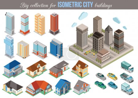 Big collection for isometric city buildings