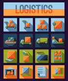 Set of logistics and delivery systems icons