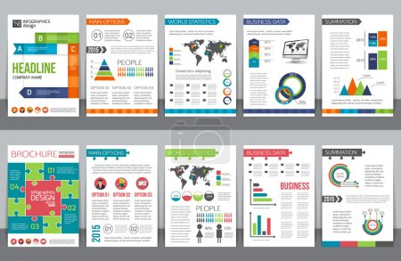 Set of corporate business stationery brochure