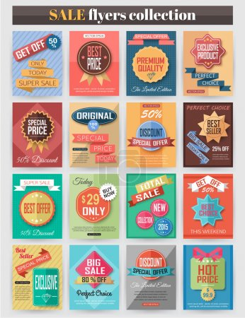 Illustration for Set of colorful Sale flyers. Best creative design for Sale and Discount Offers poster, placard, brochure, banner, presentation with place for text. Vector illustration - Royalty Free Image