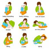 Poses for breastfeeding  Breastfeeding positions Woman breastfeeding a child in different poses: baby standing sling out of hand lying cradle Baby food Vector illustration