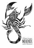 Hand-drawn mehendi scorpion