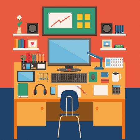 Illustration for Flat design work place icon. Work from home. Vector illustration. - Royalty Free Image