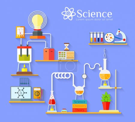 Illustration for Chemical laboratory workspace and science equipment flat style design concept. Chemistry, physics, biology. Vector illustration. - Royalty Free Image