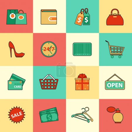 Set of shopping and sale line icons.