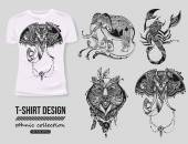 T-shirt design with hand-drawn ethnic animals
