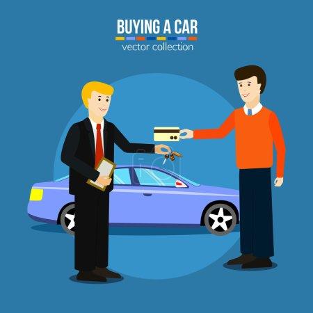 Illustration pour Un homme qui achète une voiture. Vente de voitures illustrations vectorielles. Design de style plat . - image libre de droit