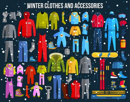 collection of cozy winter clothes
