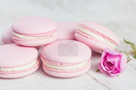 Tender pink macaroons on white wood background
