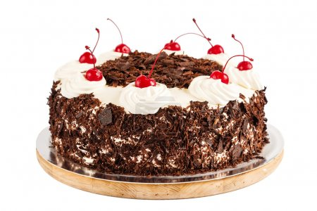 Photo for Black forest cake decorated with whipped cream and cherries. Isolated on white background - Royalty Free Image