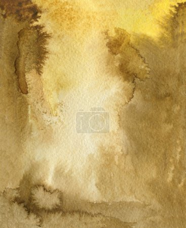 Photo for Watercolor Coffee Color Water Paper Background. Abstract brown raster illustration. - Royalty Free Image