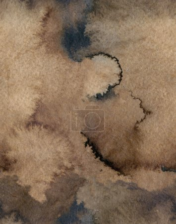 Photo for Seamless  Watercolor Coffee Color Water Paper Background. Abstract brown raster illustration. - Royalty Free Image