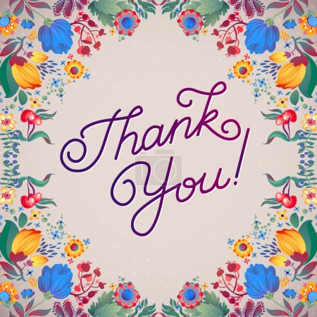 Illustration for Thank You Abstract Floral Background  Callygraphy. THANK YOU hand lettering -- handmade calligraphy - Royalty Free Image