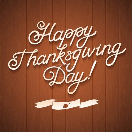 Photo for Happy Thanksgiving day. Congratulation calligraphy on wooden background - Royalty Free Image