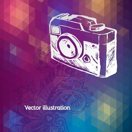 Photo for Retro photo camera illustration. bright retro grunge vector texture - Royalty Free Image