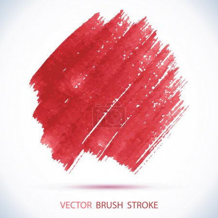 Photo for Vector watercolor red ink spot. Wet brush stroke on paper texture. Dry brush strokes. Abstract composition for design elements - Royalty Free Image