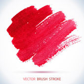 Vector watercolor red ink spot Wet brush stroke on paper texture Dry brush strokes Abstract composition for design elements