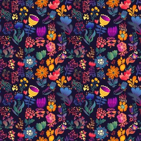 Illustration pour Fleurs motif sans couture illustration de carte vectorielle décorative - image libre de droit