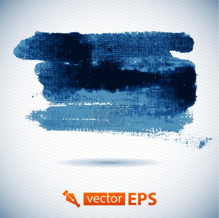 Illustration for Vector watercolor ink spot. Blue wet brushstroke on canvas texture. Dry brush strokes. Abstract composition for design elements. Blue colorful vector abstract brush stroke and splatter background - Royalty Free Image