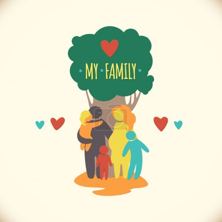 Photo for Happy family icon multicolored in simple figures. Three children, father and pregnant mother stand under a tree. Vector can be used as logotype - Royalty Free Image