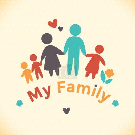 Illustration pour Happy icône de la famille multicolore en chiffres simples. Trois enfants, papa et maman sont ensemble. Le vecteur peut être utilisé comme logotype - image libre de droit
