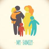 Happy family icon multicolored in simple figures Three children father and pregnant mother stand together Vector can be used as logotype