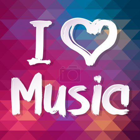 Photo for Typographical Background. Abstract geometric pattern. I love music - Royalty Free Image
