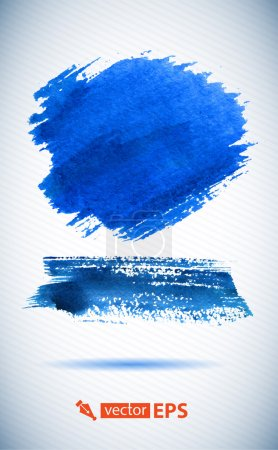 Photo for Hand painted brush strokes. Watercolor hand painted brush strokes, Blue banners. Isolated on white background. - Royalty Free Image