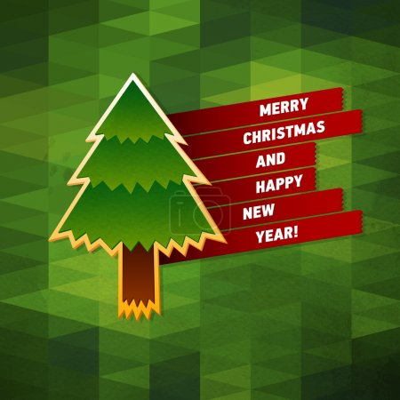 Photo for Christmas Greeting Card. Merry Christmas and Happy New Year vector illustration. Geometric pattern and paper texture. Christmas tree and red ribbons - Royalty Free Image