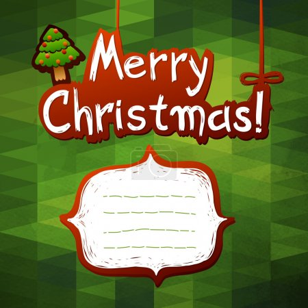 Photo for Christmas Greeting Card. Merry Christmas lettering, vector illustration. Geometric pattern and paper texture. christmas tree and white label - Royalty Free Image