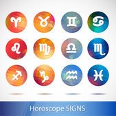 Horoscope signs - symbols White sign with a bright circular background