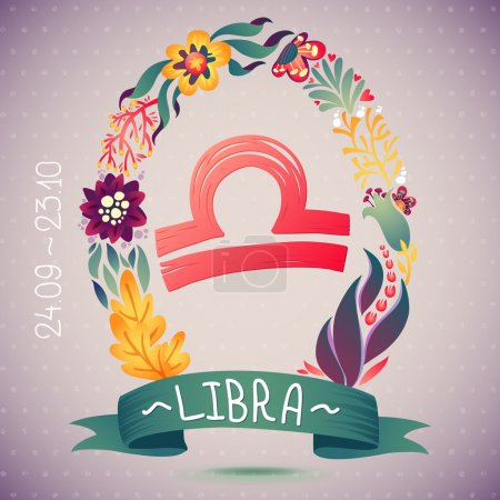 Illustration for Zodiac sign LIBRA, in a sweet floral wreath. Horoscope sign, flowers, leaves and ribbon. vector illustration for a poster design, printing or souvenirs - Royalty Free Image