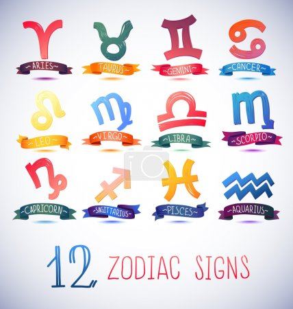 Photo for Zodiac Symbol icons on color background. Vector illustration - Royalty Free Image