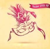 Vector illustration sketch vintage carnival mask on paper background