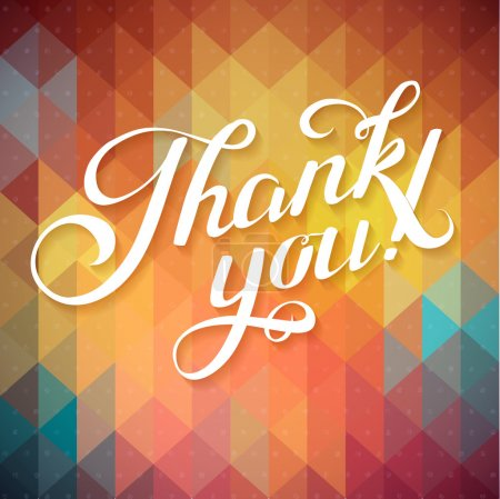 Illustration for Thank you card on colorful magic geometric background. Gratitude card for different occasions. - Royalty Free Image