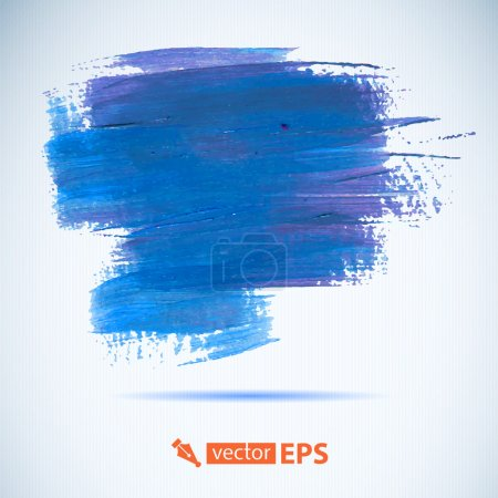 Photo for Vector acrylic blue ink spot.  Wet brush stroke on paper texture. Dry brush strokes. Abstract composition for design elements - Royalty Free Image