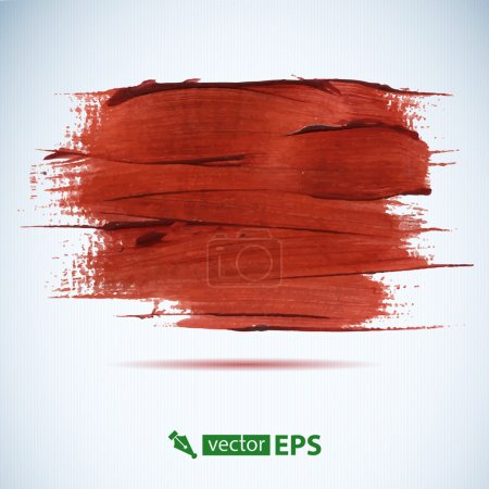 Photo for Vector acrylic red ink spot.  Wet brush stroke on paper texture. Dry brush strokes. Abstract composition for design elements - Royalty Free Image