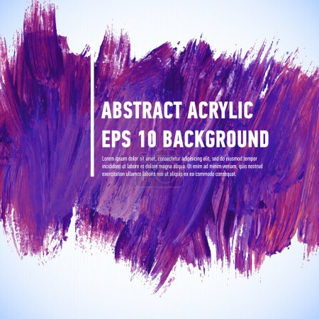 Illustration for Vector acrylic violet ink spot.  Wet brush stroke on paper texture. Dry brush strokes. Abstract composition for design elements - Royalty Free Image