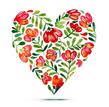 Photo for Love card with watercolor floral bouquet. Poppy flower vector illustration with heart form - Royalty Free Image