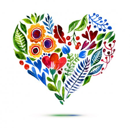 Love card with watercolor floral bouquet. Vector illustration with heart form