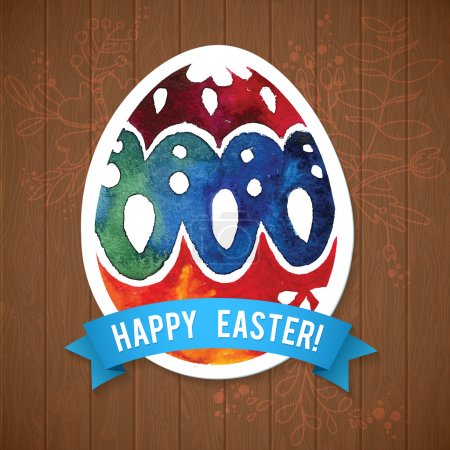 Photo for Vector greeting card Happy Easter, watercolor colourful easter egg with shadow - Royalty Free Image