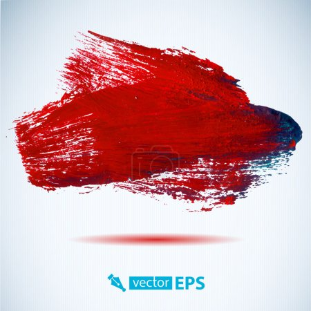 Vector acrylic red ink spot.  Wet brush stroke on ...