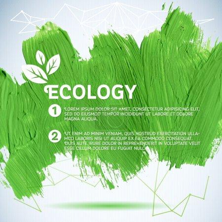 Illustration for Green painted background.  Vector illustration for fresh natural design. Ecology backdrop. - Royalty Free Image