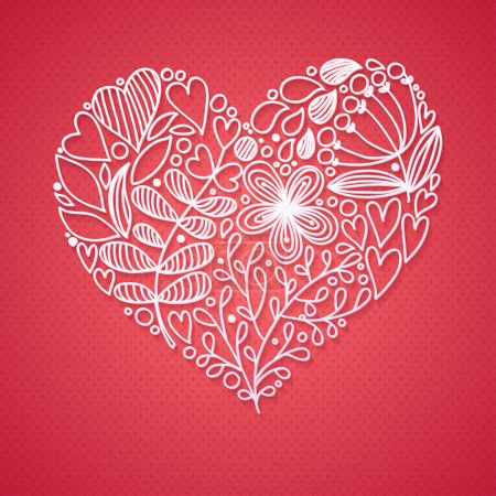 Photo for Floral Lace Line Heart Greeting Card - Royalty Free Image