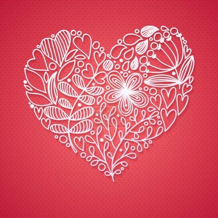 Floral Lace Line Heart