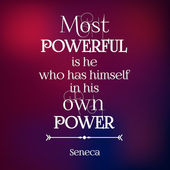 Typographical quote of Seneca on blurred Background