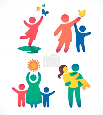 Happy family icons