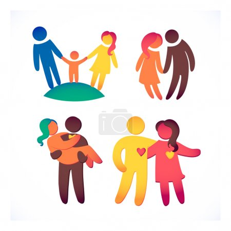 Photo for Happy family icons, multicolored simple figures set. Children, dad and mom stand together. - Royalty Free Image