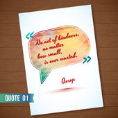 Wisdom quote card on wood background Typographical Background Illustration with quote on polygonal speech bubble