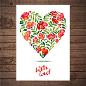 Vector illustration of flower heart frame  Multiolor floral drawing watercolor Card design for Valentine's Day or weddings Spring or summer design for invitation and greeting cards